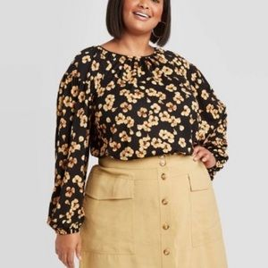 Ava & Viv Gold Floral Long Sleeve Knit Blouse X